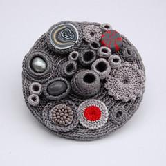 Grey 'Coral Collection' brooch (ELINtm) Tags: coral grey handmade brooch crochet jewellery accessories delicate adornment freeformcrochet textilejewellery elintm