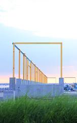 Architectural Frames (CraigB.) Tags: sunset grass brooklyn 50mm pier frames dumbo dslr architecure brooklynpromenade downtownbrooklyn canon60d brooklynpeir