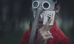 Be A Joker.Live As Trump. (LeARninGJohN) Tags: life red people forest weird quote card joker gasmask conceptual trump