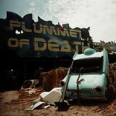 Plummet of Death (squared2x) Tags: new blue urban abandoned car death katrina orleans exploring neworleans flags sixflags nola wreck six urbanexploring plummet urbanex