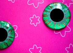"Handpainted Blythe Eyechips - ""Emerald Copper Opal"""