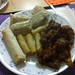 <p>Dim sims, spring rolls and this time left over spicy pork from last night's Yum Sing take away. Normally we have spicy chicken wings, all from the freezer. We used to have take away from KFC on Thursdays but it's cheaper and more fun to have stuff from the freezer instead.</p>
