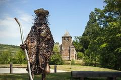 Le plerin de Saint-Jacques (CrOS Photographie) Tags: sculpture france art statue metal architecture modern roman moderne aveyron bessujouls plerin saintjacquesdecompostelle