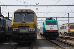 20120324 108 Antwerpen Noord Depot 1339 and 2811 or E186203 (15038) Tags: 2811 electric belgium trains locomotive antwerp railways nmbs 1339 sncb class13 antwerpennoord class28 srie13 srie28 reeks28 reeks13 e186203
