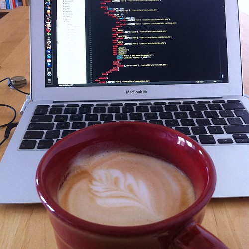 Having a coffee with my weekend morning hacking.