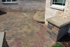 copthorne accent on patio (bretmarlandscape) Tags: brick landscape backyard landscaping patio entertainment seating pillars firepit landscaper landscapedesign seatwall landscapearchitect unilock bretmarlandscape