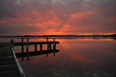 Out there (pominoz) Tags: sunset lake reflection clouds pier belmont jetty wharf nsw lakemacquarie squidsink