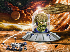 Obama's Mars Attack! (The PIX-JOCKEY (visual fantasist)) Tags: mars usa celebrity photoshop space joke president alien contest attack fake brain humour nasa vip photomontage curiosity cosmic obama marte saturno freaking sonda giove robertorizzato pixjockey
