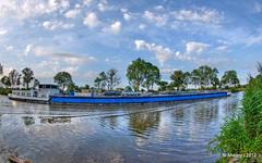 van Starkenborghkanaal,Groningen,the Netherlands,Europe (Aheroy(2Busy)) Tags: trees holland art water netherlands dutch architecture clouds fun canal europe ship colours different arts nederland surreal hallucination groningen beautifull binnenvaart tonemapped groningerlandschap singlerawhdr aheroy aheroyal beautifulgroningen vstarkenborghkanaal canonef815mmf4lfisheye