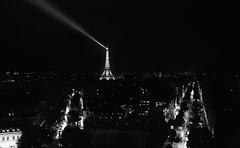 Paris holds the key to your heart (Emanuela Marino) Tags: panorama white black paris france night torre tour arc eiffel triumph vista luci francia arco trionfo sera parigi
