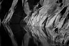 Hetch Hetchy Morning 1, Yosemite (Charlotte Hamilton Gibb) Tags: california light blackandwhite lake reflection landscape unitedstates reservoir yosemite yosemitenationalpark hetchhetchy digitalcameraclub blackwhitephotos charlottegibbphotography