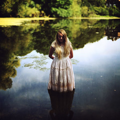 Lady of the Lake (rebecca palmer.) Tags: lake water reflection dress victorian timeless vintage girl green blue summer hampsteadheath whimsical fairytale storytelling rosiekernohan rebeccapalmer outoftherose texturebybrookeshaden