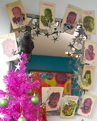 Halloween in the Dining Room (Jennifer Perkins) Tags: orange tree halloween monster werewolf skeleton skull witch fuchsia dracula polkadots frankenstein mummy raven