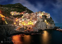 Village at dusk (PhotoArt Images) Tags: italy liguria explore cinqueterre manarola flickrsfinestimages2 photoartimages manarolaatnight manarolaatdusk nightlightsofmanarola