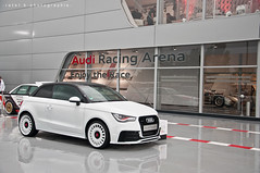 Audi A1 2.0 T Quattro (BenjiAuto (Ratet B. Photographie)) Tags: road park camping white france cars sport museum race t stand nikon parking gear pit racing course arena exotic mans le german lane hours 24 a1 autos 20 races audi circuit luxury supercar v8 v10 supercars dunlop paddock quattro r8 chicane 18105 lms arnage courbe 55200 sarthe paddocks heures d90 ratet worldcars hypercars hunaudières muslanne