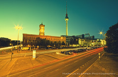 Streets of Berlin (Marcus Klepper - Berliner1017) Tags: street city berlin germany lights europe traffic fernsehturm rotesrathaus bluehour hdr blauestunde