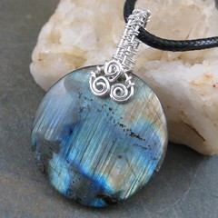 Flashing Labradorite Circle (AshleighAnnette) Tags: blue orange silver fire golden rust flash round bead sterling woven bail pendant labradorite