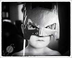 Batman (miatasrus) Tags: nikon mask grandchildren grandson masks grandchild makebelieve magnus bwconversion playacting d7000 1685vr