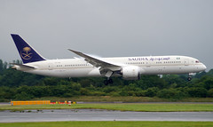 Saudia 787-0 HZ-ARB. 19/07/16. (Cameron Gaines) Tags: uk travel trees summer england usa mist grass america cn manchester for was airport bravo closed december cheshire god being aircraft aviation united north first kingdom aeroplane landing final airline saudi arabia damage around greater states boeing exit jeddah february approach airlines runway due 3rd airliner repairs airfield 22nd taxiing taxiway flew 789 prior 2016 2015 saudia delivered coud dreamliner avgeek 05l 23l 23r 7879 manegcc 05r 41545 190716 hzarb hzar