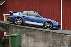 "997 turbo - 022 (Erkka Suominen) Tags: ""cobalt blau porsche"" blue ""bridge gantry"" nürburgring ""porsche 911 turbo"" ""911 ""997 ""pwr700"" ""evoms evt775"" ""evt775"" ""nürburgring bridge pccb"