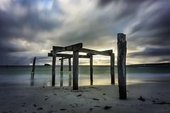 Remnant (Crouchy69) Tags: sunset dusk landscape seascape ocean sea water coast beach sand clouds sky jetty pier wharf ruin ruins hamelin bay western australia long exposure