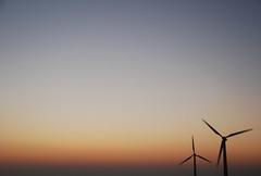 261 (kosmekosme) Tags: wind windturbine turbine electricity power horizon sundown sky blue orange energy windenergy kineticenergy kinetic electricalpower propeller turn