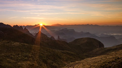 Sunrising (Gustavo Almeida Couto de Andrade) Tags: riodejaneiro rj brazil brasil sunrise sun sky blue orange serradosrgos mountain mountains mountaineering hiking trekking montanha montanhas montanhismo adventure aventura sport esporte bright light relaxing