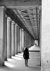 The end is in sight (cathbooton) Tags: sunshine shadows shade light architecture building columns bnwcaptures bnw blackandwhite canon6d canon canonusers canoneos explore travel holiday summer vacation city germany berlin people