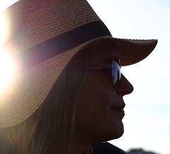 Glorious Summer (mikkelfrimerrasmussen) Tags: glorious summer hat strawhat strhat solbriller sunglasses profile profil portrt portrait backlit modlys reflections reflektioner woman smile kvinde smil female sunset