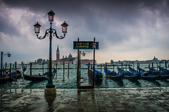 2 No Gondola Out Today (daedmike) Tags: venice italy cloudy thunder rain port jetty boats lampost tower storm gondola canal
