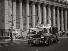 Foley Square, NYC (SG Dorney) Tags: fdny fireengine ny nyc newyork newyorkcity manhattan blackandwhite bw blackwhite mono monochrome