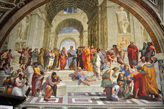The School of Athens in the Vatican Stanza della Segnatura by Raphael (Len Radin) Tags: vatican vaticancity holysee rome art renaissance theschoolofathens plato aristotle euclid raphael michelangelo leonardo da vinci alexanderthegreat socrates vaticanmuseum italy bicyclingtrip discoverybicycle europe theholysee