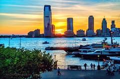 Sunset over downtown Jersey Financial district, Jersey City New Jersey. (mitzgami) Tags: building skyline travel city hudsonriver landscapes briokfieldplace newyorkcity newjersey jerseycity landscape sunset