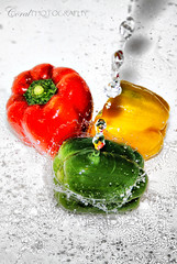 Weekly Photo Challenge : Freshness (coral.bricknell) Tags: red orange green water yellow fun rainbow bright fresh timeexposure peppers splash