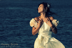 Happy Bride (Reografie) Tags: wedding portrait woman cute water girl beauty happy bride shoot dress harbour outdoor makeup handsome laugh lovely bridal portret beautifull trouwen rozenburg locatie fotoshoot bruid landtong mitchella strobist outdoorshoot exellentphotos nibbie reografie