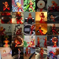 5x5 Asuka (SatanaeI) Tags: collage toy japanese 50mm figurine asuka evangelion rokkor revoltech rokkor50