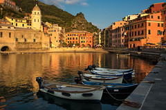 Golden Hour (glness) Tags: sunset sea italy boats gold harbor mediterranean cinqueterre vernazza goldenhour gregness