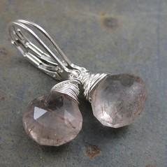 Red Rutilated Quartz Leverbacks (AshleighAnnette) Tags: red silver back rust heart small faceted smokey sterling earrings simple lever gemstone briolette rutiles tourmilinated