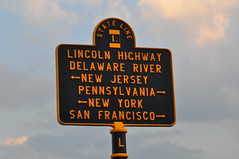 Lincoln Highway State Line Marker (Triborough) Tags: sign newjersey pennsylvania nj pa roadsign highwaysign buckscounty mercercounty trenton morrisville lincolnhighway routemarker