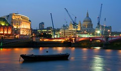 Construction (snowyturner) Tags: london thames night buildings river lights evening construction cathedral stpauls cranes blackfriars barge