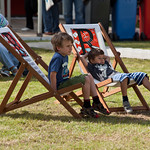 children on deckchairs