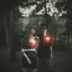 Soul Mates (Explored!) (Shelby Robinson) Tags: light boy red portrait love girl self canon dark hair fire 50mm heart 14 touch warmth soul glowing mate teenage