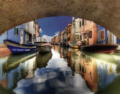 Water (boats & houses) under the bridge (PhotoArt Images) Tags: italy water boats explore burano coloredhouses veneto waterunderabridge reflectionsofcoloredhouses photoartimages
