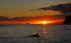 Sunset Cruise ... (jcc55883) Tags: sunset sky sun silhouette clouds hawaii nikon waikiki oahu horizon shoreline surfers waikikibeach yabbadabbadoo d40 kalakauaavenue kuhiobeachpark nikond40 waikikibeachcenter