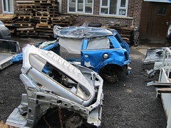 Wreck & Roll (Lady Wulfrun) Tags: blue one crash crashed mini smashed rolled bashed forestofdean writeoff endoftheroad bmwmini rolledover parkend writtenoff glouestershire cannoproad