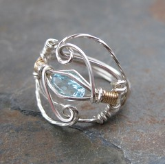 Blue Topaz Filigree Ring (AshleighAnnette) Tags: blue light sky silver gold wire cut wrapped filled precious faceted sterling accent oval topaz