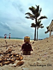 Because super heroes deserve to rest too... (jihaner) Tags: vacation holiday beach photography lego ironman palmtree superheroes bahamas