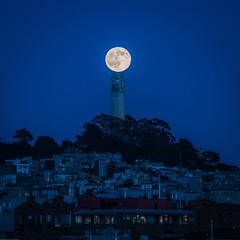 Iconic Golf Ball Moon Over Coit Tower (MarinSD) Tags: sanfrancisco california moon fullmoon moonrise coittower telegraphhill iconic
