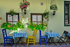 (yonca60) Tags: kuzguncuk istanbul cafe street table windows chairs