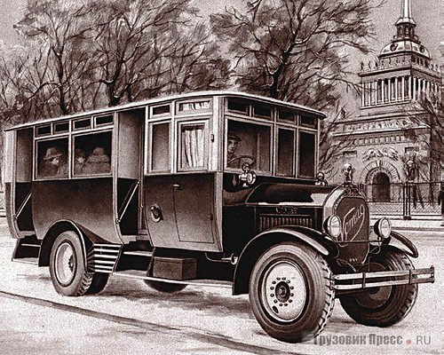 Ленинградский автобус на шасси «Фомаг». 1926 г. ©  foot-passenger